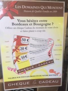 Vous hésitez entre Bourgogne et Bordeaux ? Offrez-lui un certificat cadeau !! Coup gagnant assuré !!